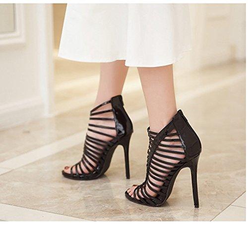 KHSKX-8.5Cm Chaussures Noires Des Talons Creux En Cuir Chaussures Fines Sandales Ultra - Talon Haut En Couleur Thirty-seven