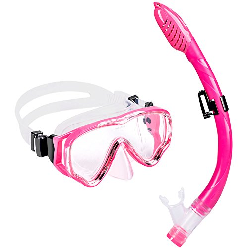 Schnorchelset Kinder - UPhitnis Anti-Fog Snorkeling Mask, Anti-Leck Tauchermaske Dry Schnorchel - Snorkeling Set für Mann, Damen, Kinder - Tauchen & Schnorcheln mit Blau, Schwarz, Gelb, Rose (Rosa)