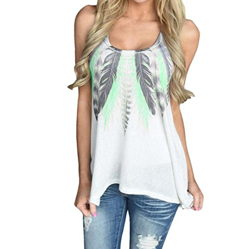 Damen Winter Mäntel Billig (VEMOW Heißer Verkauf Sommer Frauen Mädchen Damen Tägliche Feder Sleeveless Shirts Bluse Casual Tank Tops T-Shirt (EU-40/CN-S, Grün))