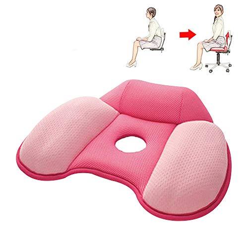 HYYQG sitzkissen orthopädisch steißbein für Ischias Relief Entspannen Sie Sich Tröster Kissen Verbessern Sie die Körperhaltung für Heimbürostühle, Küchenstühle und Sofas, A - Rosa Und Schwarz Tröster