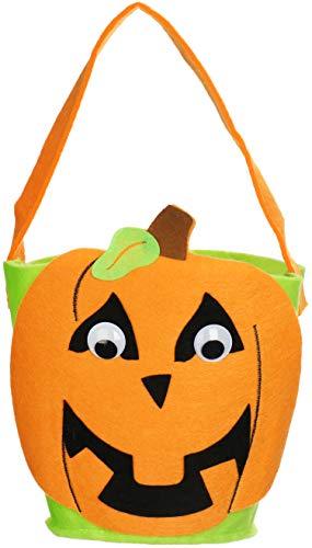 Com-four® halloween bag - borsa per la raccolta di dolci su halloween - borsa da collezione con motivo di zucca (1 pezzo - cestino di feltro zucca)