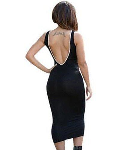 PU&PU Robe Aux femmes Moulante Simple,Rayé Col en V Midi Polyester BLACK-ONESIZE