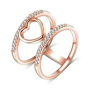 Bishilin Vergoldet Damen Ring Rosegold mit Zirkonia Hohl Kreise Herz Trauring Hochzeitsringe Freundschaft Ring Rosegold