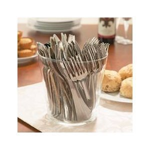 Disposable Re-Useable Silver finish Plastic Cutlery -144 pcs- forks knives spoons -Would You Believe It's Plastic!! PLUS TABLE