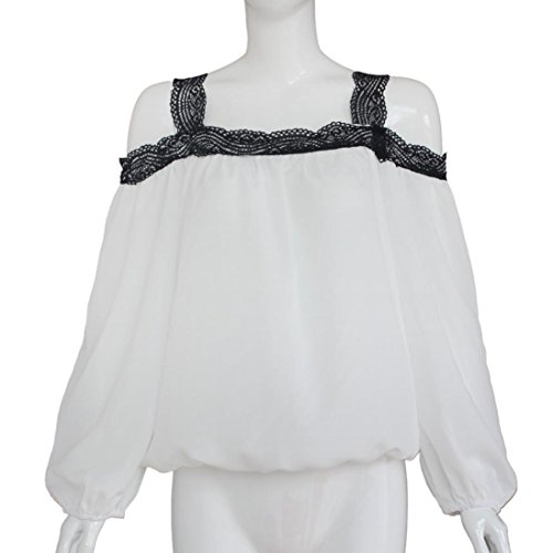 Chemisier Femme Chic Ete 2016 Femme Sexy ÉPaule Off à Manches Longues En Dentelle Chemisier En Mousseline LâChe Haut T-Shirt Blanc