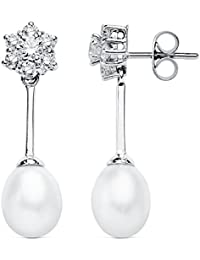 Pendientes oro blanco 9k largos 30mm. perlas circonitas [AB4843]