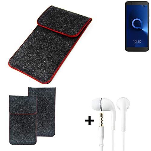 K-S-Trade® Filz Schutz Hülle Für Alcatel 1C Single SIM Schutzhülle Filztasche Pouch Tasche Handyhülle Filzhülle Dunkelgrau Roter Rand + Kopfhörer