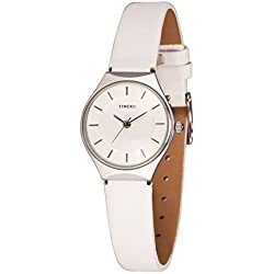 Time100 Fashion Simple Ultra-Thin Retro White Leather Strap Ladies Watch #W50237L.03A