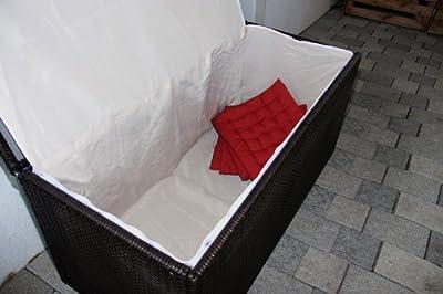 Kissenbox Aufbewahrungstruhe RomV, 118 cm, 360l, Poly-Rattan ~ braun-meliert von Mendler auf Du und dein Garten