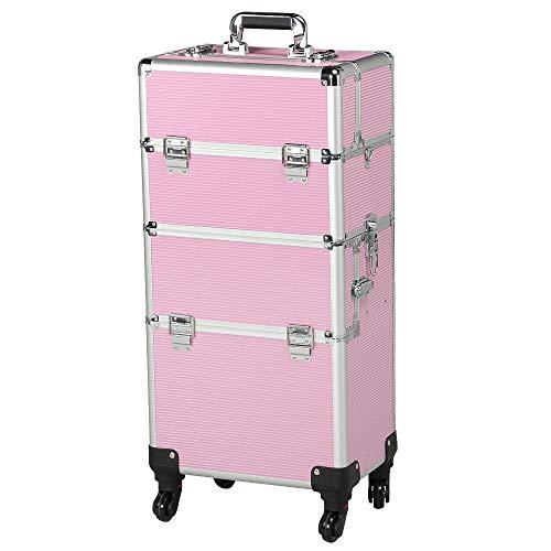 Yaheetech Alu Schmuckkoffer Friseurkoffer Kosmetikkoffer Beautycase Koffer Trolley mit Schlösser und Tragegurt pink