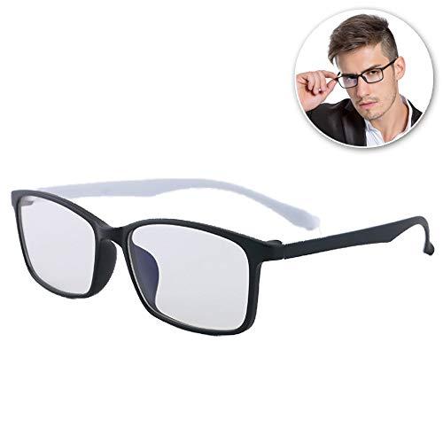 FZXHJ Negativ-Ionen-Anti-Blau-Brille, Computer-Handy-Anti-Strahlungs-Anti-Ermüdungs-Brille, Ultraleichter, Zweifarbiger, Elastischer Brillenrahmen, Unisex (Männer/Frauen),E