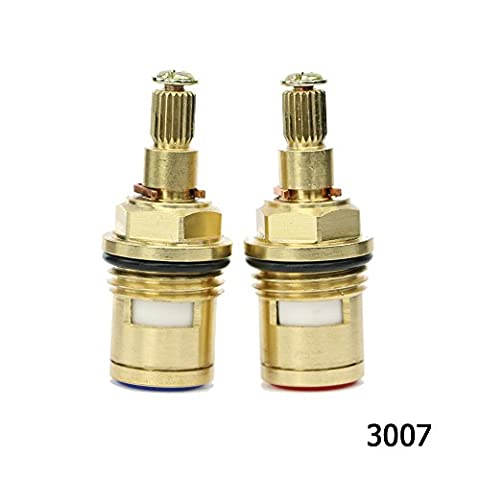 Kitchen Bathroom Basin Sink Hot and Cold Tap/Faucet Replacement Quarter Turn Ceramic Disc Brass Cartridge Valve fit G 1/2 BSP 20 Teeth Spline hq3007 Clockwise&Anti-clockwise Open Pair by Sinjo