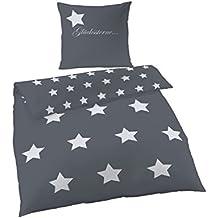 Ido Ropa de cama de franela (2piezas, funda nórdica de 135x 200cm 80x 80cm funda de almohada gris antracita estrellas