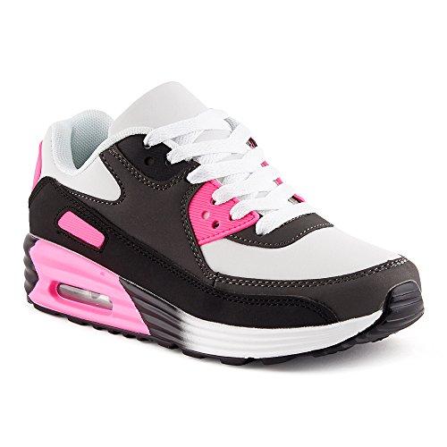 Fusskleidung Herren Damen Sportschuhe Dämpfung Neon Sneaker Laufschuhe Runners Gym Unisex Schwarz Grau Fuchsia EU 37