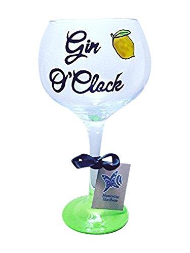 Www.memories-like-these.co.uk Gin & Tonic Geschenk, Gin-Glas, personalisierbar, handdekoriert, Gin-o-Glas, grüner Boden, Gin-o-Uhr mit Zitrone. Ballonglas 27oz Gin-Glas groß