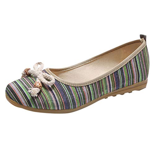 Madmoon Sommer Damen Bow Low-Top National Style Single Schuhe Leichte Wedges Lazy Schuhe Schuhe Mokassins Espadrillas Vicky Espadrille Lok Fu Schuhe Römische Schuhe Outdoor Sports Schuhe -