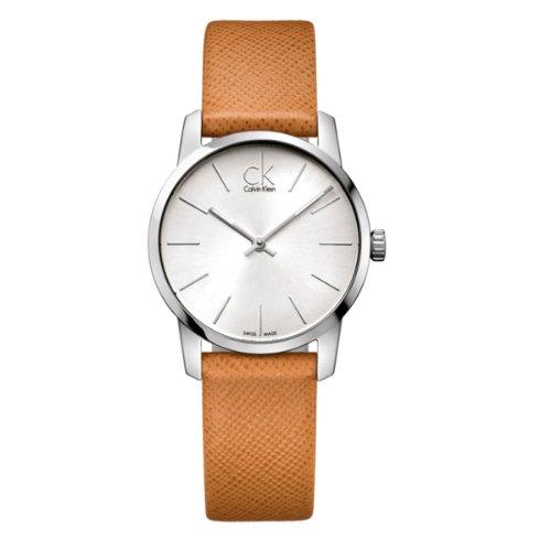 Calvin Klein Damen-Armbanduhr XS City Lady Analog Leder K2G23120