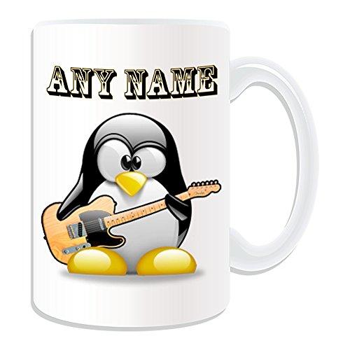 Personalisiertes Geschenk, großer Elektrische Jazz Gitarre Tasse (Design Pinguin in Kostüm Thema, weiß)–alle Nachricht/Name auf Ihre einzigartige–Musik Musikinstrument