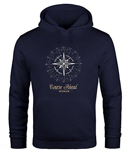 Neverless Hoodie Herren Kompass Windrose Navigator Segeln Kapuzenpullover Sweater Männer Navy 3XL