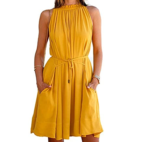 Imixcity Audrey Hepburn Boat Neck Yellow Swing Retro Vintage Dress/Rockabilly
