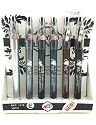 Lot de 6 crayon fard à paupières Jumbo Argent - Noir - Gris clair et foncé - Marron clair et foncé