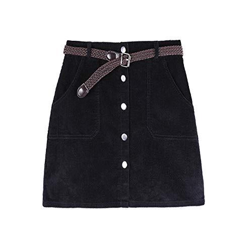Rock,Schwarz Winter Herbst Cord Rock Für Damen Mode Hohe Taille Frauen Süße Röcke Mit Tasten Pocket, XL (Rock Cord-knie-länge)
