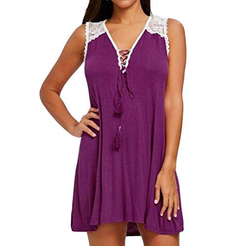 SMILEQ Women Casual Dress Fashion Lace Splicing Sleeveless Sundress Sexy Lace Up Tassel Mini Skirt