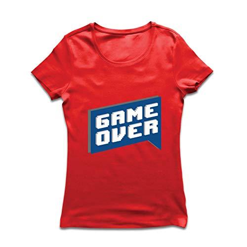 lepni.me Frauen T-Shirt Spiel vorbei, Videospiel-Shirt Geschenk für einen Spieler (Large Rot Mehrfarben) -