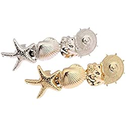 cuhair(TM) 2Damen Haarspangen / Haarklammern aus Metall, mit Muscheln, Gold- und Silberfarben