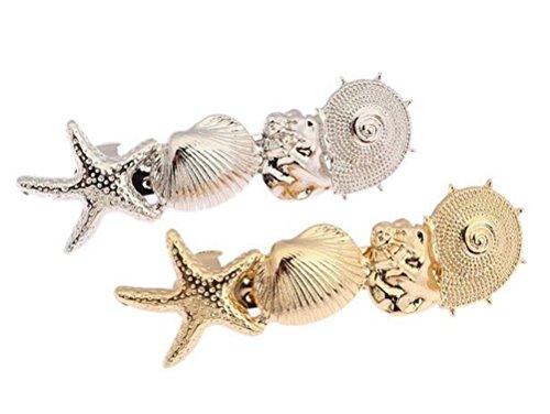 cuhair (TM) 2Frauen Girl New Oceanic Stil Gold Metall Muscheln Sea Star Hair Clips Haarspangen Haarklammer Pin Haar Zubehör