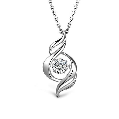 T400de bijoutier Argent sterling Cœur Oxyde de Zirconium Collier cadeaux de Saint-Valentin pour petite amie Wife,