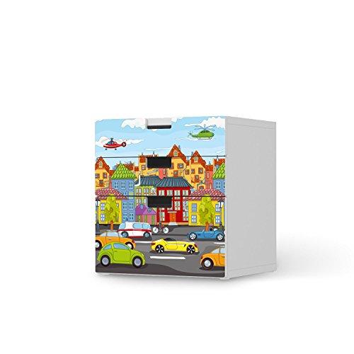 creatisto Möbel-Tattoo für Ikea Stuva Kommode - 3 Schubladen (Kombination 1)   Dekoaufkleber Jugendzimmer Accessoires   Ideen für Ikea Möbelfolie Kinder-Zimmer Innendeko   Kids Kinder City Life