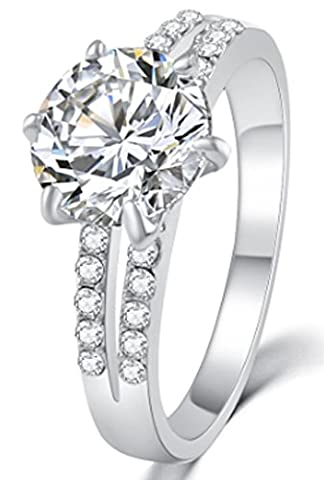 SaySure - Luxury Cystal Zircon Ring Wedding Jewelry (SIZE : 8)