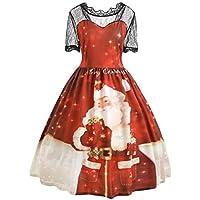 Geili Weihnachten Kleid Für Frauen Große Größen Weihnachtsmann Druck Spitzenkleid Damen Elegante Kurzarm Hohe... preisvergleich bei billige-tabletten.eu