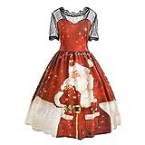 OIKAY Damen Weihnachten Spitzenkleider Mode Plus Größe Patchwork Rock Print Hohe Taille Lose Kleid