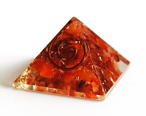 Reiki Healing Energy Charged Krystal Gifts UK Red / Orange Carnelian Crystal Chip Orgone Pyramid (2 x 2 x 2 cm) Including Crystal Information & Beautifully Gift Wrapped by Krystal Gifts UK