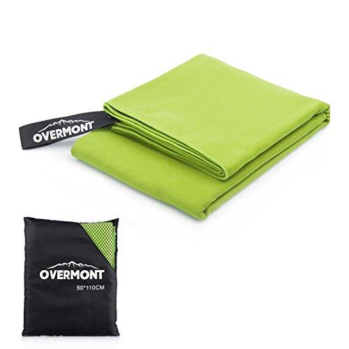 Overmont Serviette Séchage Rapide 110 x 50 cm en Microfibre ultra-légère portable pour camping, randonnée, sport, natation, plage etc.