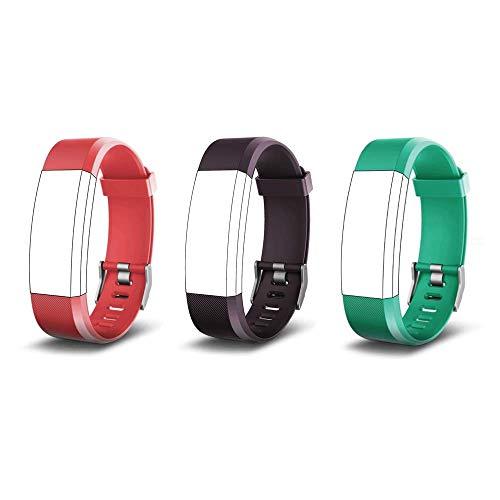 endubro Ersatzarmband für Fitness Tracker ID115 HR Plus & viele weitere Modelle aus hautfreundlichem TPU & nickelfreiem Verschluss (Violett + Grün + Rot)