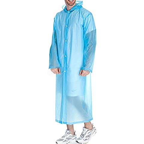Adulto Unisex Mujer Hombre al aire libre portable de la capa impermeable reutilizable de PVC transparente viento del poncho poncho de lluvia con capucha azul de