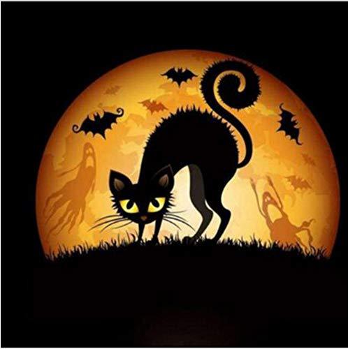tickerei Stickerei volle runde Halloween Schwarze Katze Diamant malerei kreuzstich mosaik Bild Decor 40X40CM ()