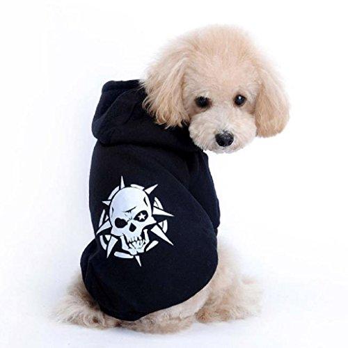 Loveso-Haustier Hunde Kleider Bekleidung Haustier Hündchen Schwarz Schädel Mantel Kostüm Jacken oberbekleidung Sweatshirt T-Shirt (M, Schwarz) (Hund Kostüm Zwei Hunde Transport Box)