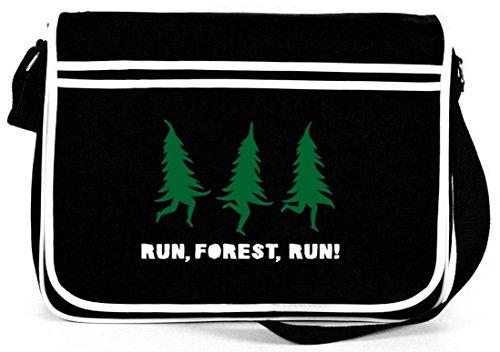 RUN, FOREST, RUN! Weihnachten Winter Retro Messenger Bag Kuriertasche Umhängetasche Schwarz