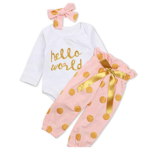 2d8ef6843 Yilaku Newborn Baby Girl Set Kids Romper Tops+Pants+Headband 3pcs Outfit  Infant Clothing