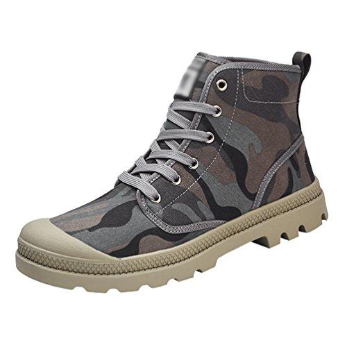 Anguang Unisex Traspirante Stringata Sneakers Alte Scarpe di Tela Scarpe da Guida Sportivo Grigio#2 40