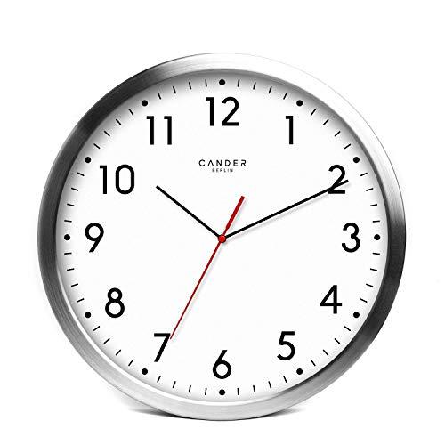 Horloge murale Cander Berlin MNU 2030 en aluminium avec fond blanc, de 30,5cm de diamètre, fonctionnement silencieux sans tic-tac énervant
