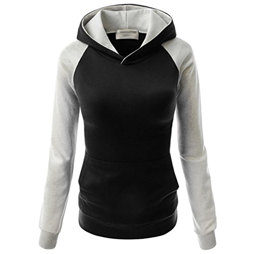 Frauen Farbe Tasche Kapuze Strickjacke Raglanhülsenlänge T-Shirt (M, Schwarz) (Marilyn Kleid Plus Size)