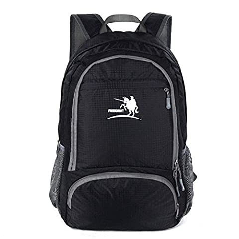 Foldable Daypack, 30L Portable Handy Lightweight Packable Outdoor Sports Climbing Riding Cycling Camping Hiking Backpacks Trekking Rucksacks School Casual Daypacks Black for Men Women