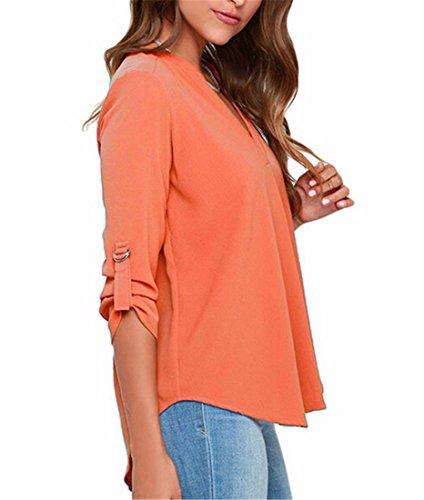 Womens En Mousseline De Soie DEte T-Shirt Col V A Manches Longues Lache Tops Blouse Chemise Orange