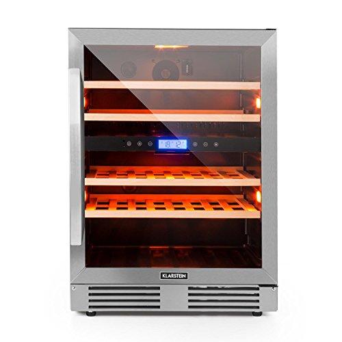 Klarstein Vinovilla Duo43 - Cave à vin, Volume: 129 L, Éclairage intérieur à LED en trois couleurs, 43 bouteilles, 2 zones de refroidissement, Noir
