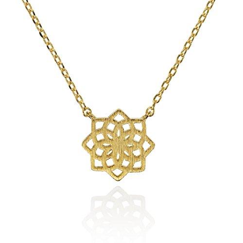 NAMANA Mandala Anhänger mit Halskette, gebürstetes Finish 14 Karat vergoldete geometrische Kette, nickelfreie und bleifreie Anhängerkette, Mandala Blumen Schmuck mit Geschenkbox